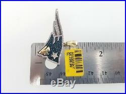 10k Yellow Gold Blue New England Patriots Football Game Diamond Pendant Charm