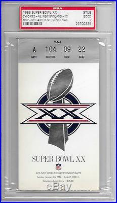 1985 SUPER BOWL XX Ticket STUB Chicago BEARS vs New England PATRIOTS NFL 20 PSA