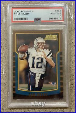 2000 Bowman #236 Tom Brady RC Rookie PSA 8 Patriots Bucs MVP HOF NM Just Graded