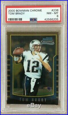 2000 Bowman Chrome #236 TOM BRADY New England Patriots Rookie Card PSA 8