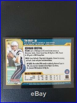 2000 Bowman Chrome #236 Tom Brady England Patriots RC Rookie Mint