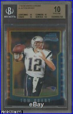 2000 Bowman Chrome #236 Tom Brady Patriots RC Rookie BGS 10 PRISTINE HOT CARD