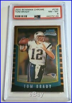 2000 Bowman Chrome #236 Tom Brady Rookie Card PSA 8 Sharp Corners and Color
