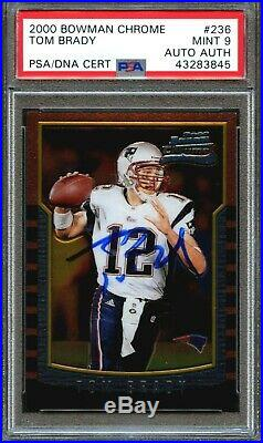 2000 Bowman Chrome #236 Tom Brady Rookie Rc Mint Psa 9 Psa/dna Auto Autograph