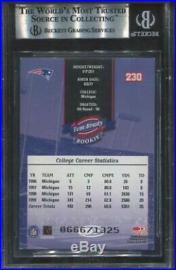 2000 Donruss #230 Tom Brady Rookie BGS 8.5 Nm-Mt+ (psa 8.5) 666/1325 Made