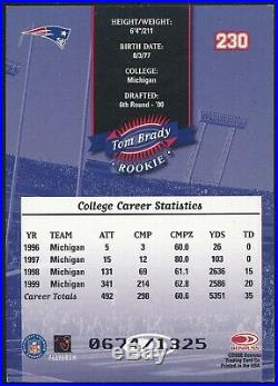 2000 Donruss Tom Brady Serial Numbered /1325 Rookie Card #230 Nrmt