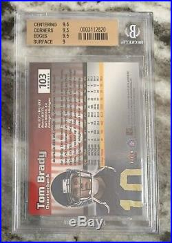 2000 Fleer Mystique #103 Tom Brady Patriots RC Rookie # /2000 BGS 9.5 GEM
