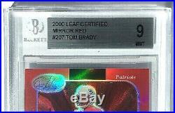 2000 Leaf Certified TOM BRADY RC Mirror Red Refractor ROOKIE SSP #207 BGS 9 Mint