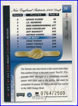 2000 Playoff Prestige Tom Brady #286 Rookie RC /2500 Patriots RARE SP