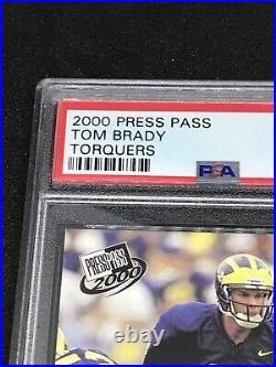 2000 Press Pass #37 TOM BRADY Rookie Football Card RARE Blue Torquers PSA 9