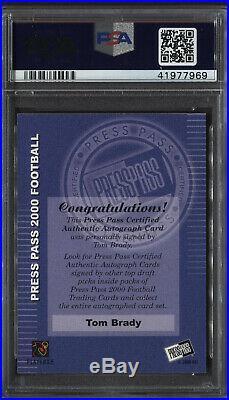 2000 Press Pass Tom Brady Certified Autograph Rc Psa 9 On Card Rookie Auto