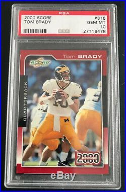 2000 Score #316 Tom Brady Rc Psa 10 Gem Mint Pop=31! Rare Opportunity