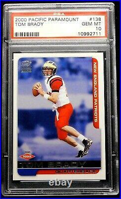 2000 Tom Brady Rookie PSA 10 GEM MINT Pacific Paramount #138 Flawless Patriots
