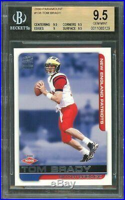 2000 paramount #138 TOM BRADY patriots rookie card BGS 9.5 (9.5 9.5 9 9.5)