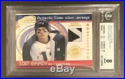2001 Pacific Prism Tom Brady Atomic Jersey Patch Game Worn BGS 8 patriots