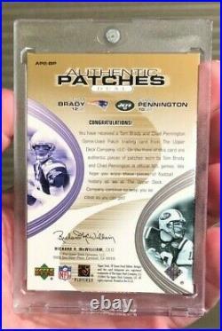 2004 SP Game Used GOLD Tom Brady Pennington DUAL LOGO PATCH Patriots Bucs 4/25