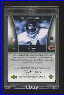 2005 Exquisite Walter Payton Game Worn Super Patch Logo #ed 14/15 Bears Hof Rb