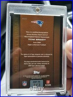2008 Topps Letterman Tom Brady Autograph # 3/3 RARE. New England Patriots