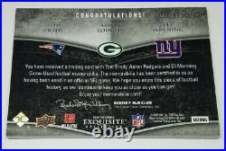 2009 Exquisite Triple Patch Tom Brady/Aaron Rodgers/Manning GU 7 CLR JSY SP/25
