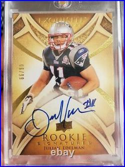 2009 Upper Deck Exquisite Rookie Signatures Julian Edelman on card auto /99