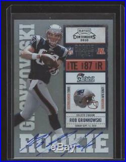 2010 Rob Gronkowski Playoff Contenders RC Rookie Ticket Auto Blue Jersey