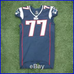2012 Nate Solder #77 Nike Navy Game Used Worn New England Patriots Home Jersey