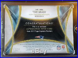 2014 Topps Supreme 2CLR Relic Auto TOM BRADY New England Patriots #20/25