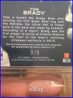 2015 Panini Spectra Tom Brady Vested Veterans Auto Patch Refractor 5/5 1/1