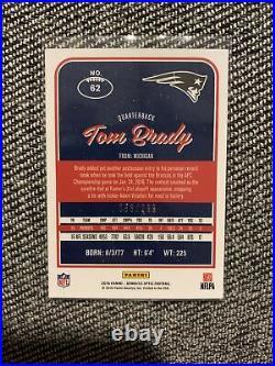 2016 Donruss Optic Football Card Tom Brady Prizm Aqua Blue #53/299 Card #62
