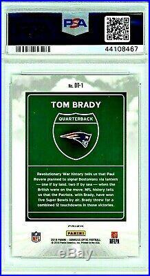 2018 Tom Brady Donruss Optic DOWNTOWN Prizm #DT1 PSA 10 GEM MINT Hot Card