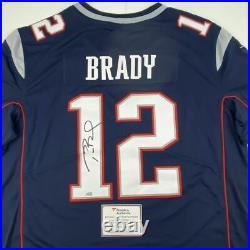 Autographed/Signed TOM BRADY Blue Nike Limited NE Patriots Jersey Fanatics COA