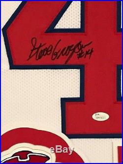 Framed Steve Grogan Autographed Signed New England Patriots Jersey Jsa Coa