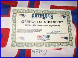 Game Worn New England Patriots Road Blue Jersey-1998