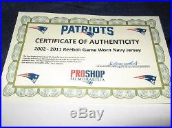 Game Worn New England Patriots Road Blue Jersey-2011