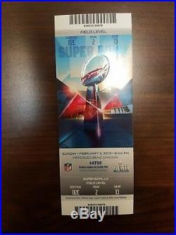 MINT TICKET SUPER BOWL LIII 53 New England Patriots vs Los Angeles Rams 2/3/2019