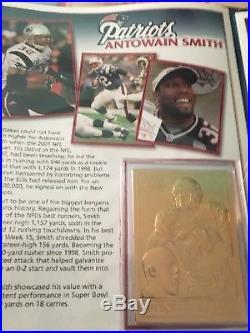 NEW ENGLAND PATRIOTS SUPER BOWL XXXVI (36) 22kt GOLD CARD SET DANBURY MINT NFL
