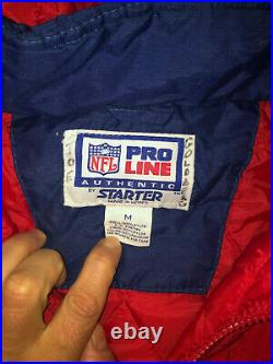 NEW ENGLAND PATRIOT Vtg 90s Pull Over Hoodie Hood STARTER jacket coat PRO LINE M