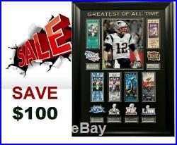 New England Patriots Custom Tom Brady GOAT Super Bowl 53-6X CHAMP WALL DISPLAY