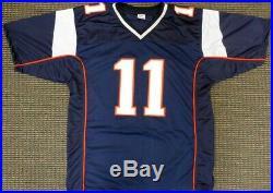 New England Patriots Julian Edelman Autographed Blue Jersey Beckett 147961