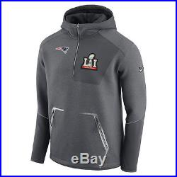 Nike New England Patriots Super Bowl 51 Media Half-Zip Jacket Hoodie Large