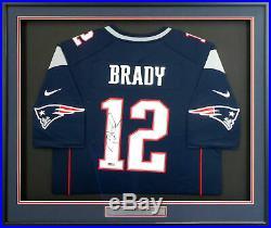 Patriots Tom Brady Autographed Framed Blue Nike Jersey Tristar Holo 151443