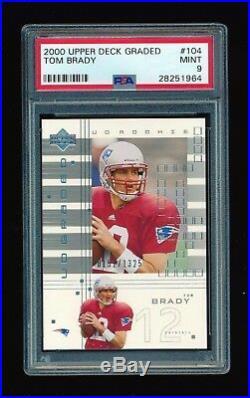 Psa 9 Tom Brady 2000 Upper Deck Ud Graded Rc Rookie Card #/1325 Patriots Mvp
