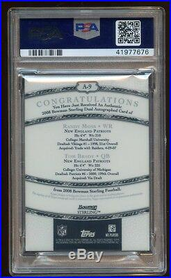 Psa 9 Tom Brady / Randy Moss 2008 Bowman Sterling Gold Dual Autograph Sp Pop 1