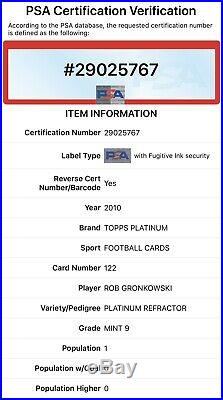 ROB GRONKOWSKI 2010 Topps Platinum #122 Platinum Refractor PSA 9 ROOKIE POP 3
