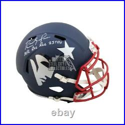 Randy Moss NFL Rec Rec 23 TD's Autographed Patriots AMP Full-Size Helmet BAS COA