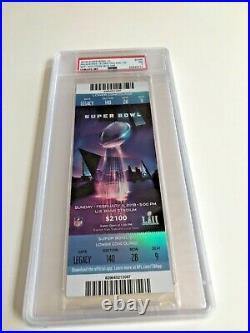 Super Bowl 52 LII Full Ticket Eagles Patriots Psa 7 Nm Blue Var