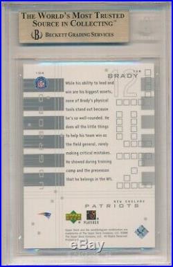 TOM BRADY 2000 UD GRADED #104 RC ROOKIE PATRIOTS SP /1325 BGS 9.5 GEM MINT With 10