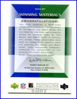 TOM BRADY/BRETT FAVRE 2004 UD SPX Winning Materials Dual Auto Jersey SP 4/25 1/1