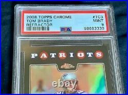 Tom BRADY 2008 Topps CHROME REFRACTOR New PSA 9 Mint NEW ENGLAND Patriots #TC3