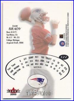Tom Brady 2000 E-x #122 Rc Rookie Card New England Patriots Sp #1179/1500